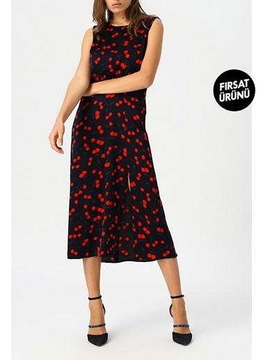 Random Kadın Desenli Midi Boy Elbise Kırmızı
